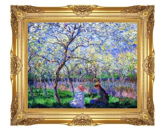 Springtime Claude Monet Spring Framed Canvas Art Print Painting Reproduction - Small to Large Sizes - M01718