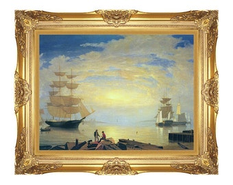 Gloucester Harbor at Sunrise Fitz Hugh Lane Framed Seascape Ships Canvas Art Print Painting Reproduction - Sizes Small to Large - M01837