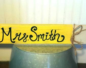 Handmade Customizable Shabby Chic Wood Pencil Teachers Last Name Classroom Sign