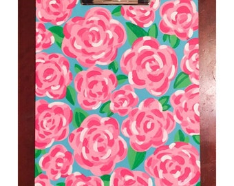 Lilly Pulitzer Inspired Hand Painted Clipboard