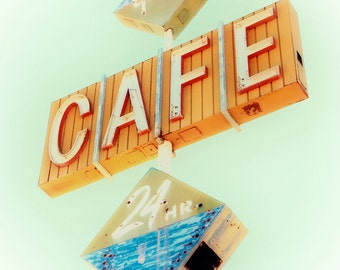 Vintage Neon Sign, Vintage Neon Cafe Sign, Gaston's Cafe, Retro Cafe Sign, Mid Century Modern Decor, Retro Kitchen Decor, Sign Photography