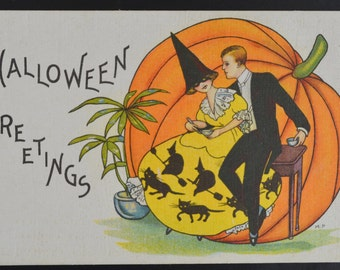 Halloween Postcard Stetcher Postcard Romantic Halloween Card