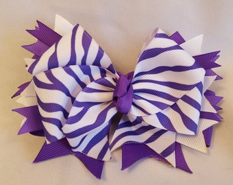 Purple and white Hair-Bow