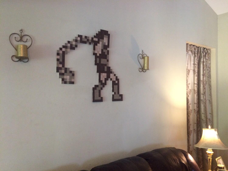 bioshock big daddy 8 bit wood pixel wall art