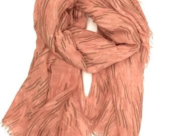 Abstract Print Womens Scarves - Fashion Scarves Made in italy - Geometric Print Scarf - Italian Scarf - Silk Scarf - Orange Print Scarf