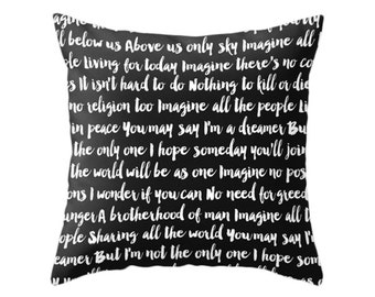Imagine Song Pillows, 5 Color Options, Lyrics Throw Pillow, Typographic Design Cushion, Home Decor, The Beatles, Imagine, John Lennon, Music