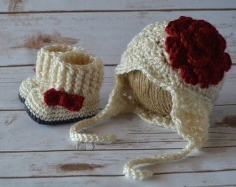 Crochet Baby Earflap Hat and Boots Set, crochet baby girl set, crochet baby Christmas hat, crochet baby boots