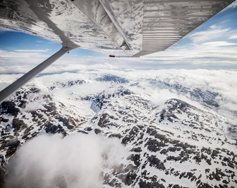 Norway, Mountains, Light Aircraft, Plane, Landscape, Snow, Flying, Flight, Photo, Photography, Fine Art, Print, Scandinavia