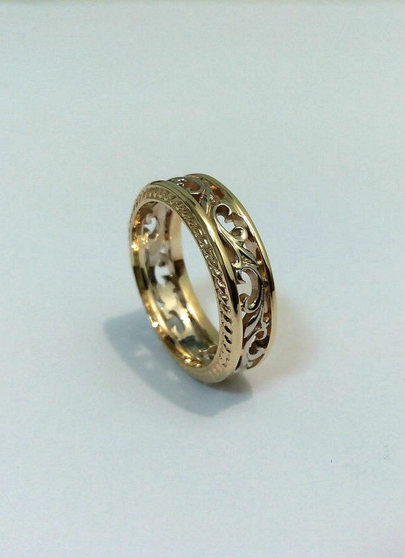 engagement ring 14k solid gold filigree ring unique by