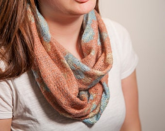 Infinity scarf, circular scarf, Apricot/Terracotta floral, knitted fuzzy soft scarf
