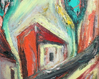 Contemporary landscape house oil painting