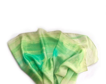 Lime green silk scarf paint by hand. Hand painted scarf. Bright green aqua scarf. Abstract painting on silk by Dimo/ Fresh summer scarf