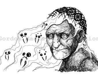 Spider Witch Illustration Print