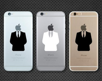 Apple Suit man Anonymous inspired iPhone decal - iPhone sticker