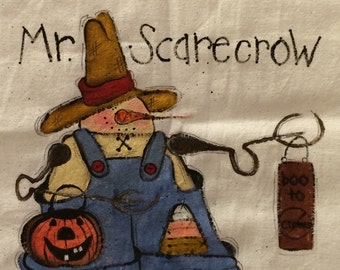 Scarecrow dish towel, scarecrow cup towel,Pumpkin dish towel,Fall dish towel, Candy corn dish towel, hand painted in the USA dish towel.