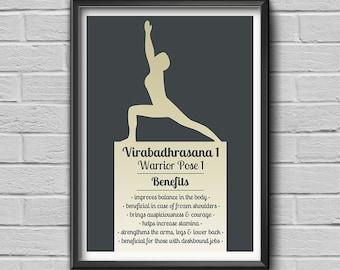 "Yoga Pose ""Virabadhrasana - Warrior Pose 1"", Yoga Print, Yoga Art, Yoga Studio Art, Wall Art Decor, Yoga Gift"