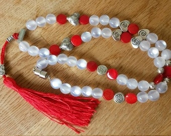 Chain RED TASSLE - red jade and mother of Pearl and silver