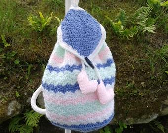 Pastel Stripe Hand Crochet Back Pack