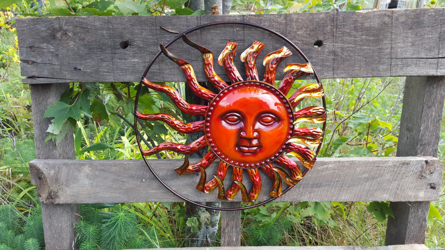 Garden decor garden decor metal sun sun wall by for Outdoor decorative items