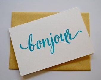 Bonjour Letterpress Greeting Card (Pack of 5)