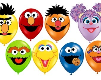 Sesame Street Printable Faces Birthday Balloon Stickers INSTANT DOWNLOAD Elmo, Cookie Monster, Abby Caddaby