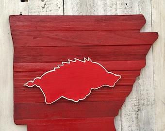 Arkansas State Map Cutout w/Razorback Hog  Salvaged Wood Arkansas Map