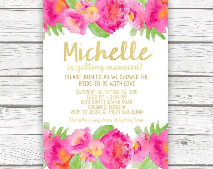 Tropical Bridal Shower Invitation, Luau Bridal Shower Invitation, Garden Bridal Shower Invitation, Hot Pink Bridal Shower, Printable Invite