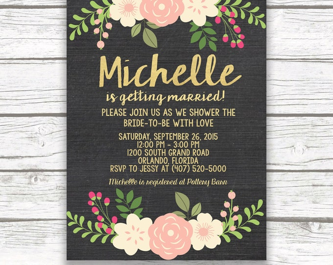 Chalkboard Gold Foil Pink Floral Bridal Shower Invitation w/ Matching Back, Peach Peony Invite, Printed or Printable Invitation