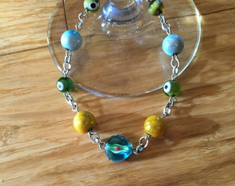 Bright, Cheerful and Colorful Silver Beaded Bracelet