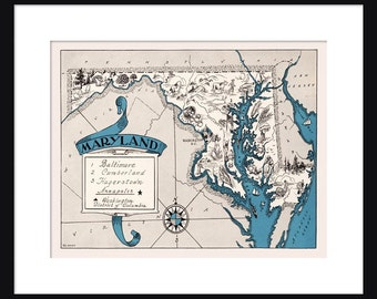 Maryland Map - Map of Maryland - State Map - Vintage Map - Poster - Print - Pictorial - Cartoon Map