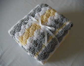 HANDMADE BABY BLANKET - Neutral Baby Shower Gift - Yellow and Gray - Crochet Baby Blanket - Knit Baby Blanket - Made to Order