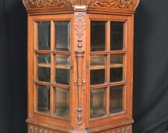 Antique French China Cabinet Display Rare 3 Sided Model Oak #1775