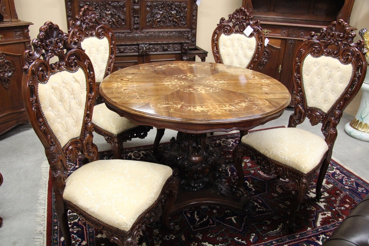 Italian baroque dining set table and six chairs carved for Baroque dining table set