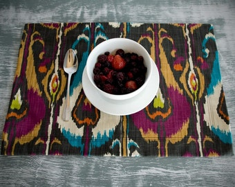 Dark Ikat Placemats - Set of Two