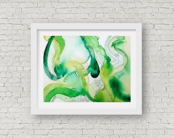 Green abstract fine art Giclee print