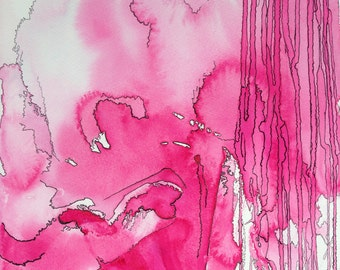 Original abstract watercolor and ink