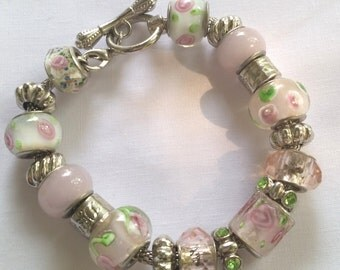 Pink and Green Charm Bracelet