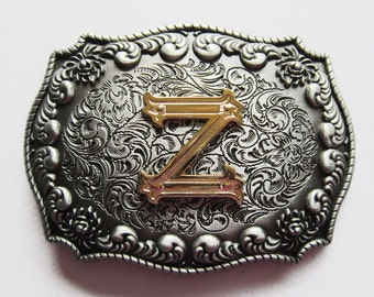 "Initial Letter ""Z"" Western Cowboy Rodeo Belt Buckle"