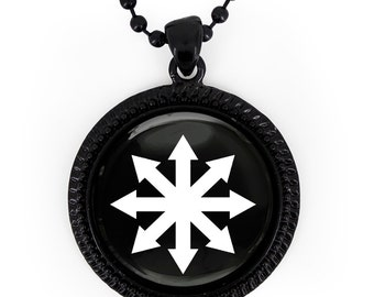Jet Black Chaos Theory Symbol Glass Pendant Necklace 379-JBRN