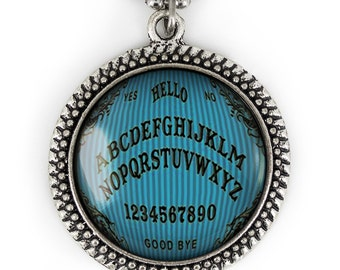 Antique Silver Victorian Pinstriped Ouija Board Glass Horror Pendant Necklace 46-SRN