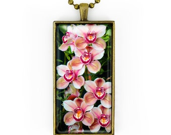 Antique Bronze Tropical Paradise Orchids Glass Pendant Necklace 189-BRCN