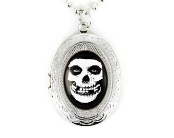 Silver Misfits Crimson Skull Glenn Danzig Horror Punk Glass Keepsake Locket Necklace 179-SLN