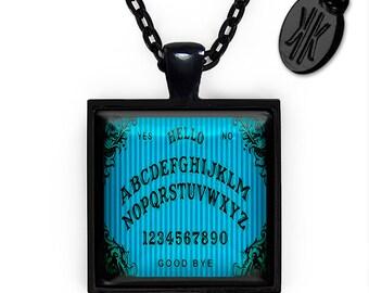 Jet Black Gothic Victorian Blue Pin-stripe Ouija Board Glass Horror Pendant Necklace 46-JBSPN