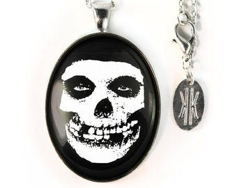 Large Silver Misfits Glenn Danzig Crimson Skull Glass Pendant Necklace 179-SLOPN
