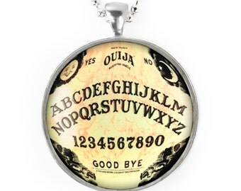 Large Silver Traditional Gothic Ouija Board Glass Horror Pendant Necklace 47-SLRN