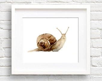 Snail Art Print - Wall Decor - Watercolor Painting