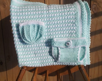 Crochet Baby Blanket Set - Cool Waters