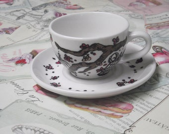 Cherry Blossom with Vintage Bird Cages hand painted porcelain 8oz cup and saucer