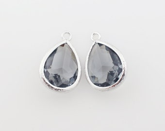 G000314P/Charcoal/Rhodium plated over brass/Drop faceted glass pendant/11.4mm x 17.1mm /2pcs