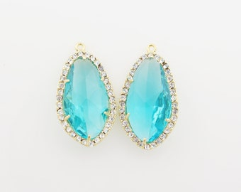 G000504P/Blue Zircon/Gold plated over brass/Large cubic sided faceted glass pendant/14.4mm x 25.4mm/2pcs